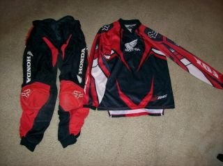 HONDA FOX YOUTH MOTOCROSS PANTS AND JERSEY, CR80 , CR85 , CRF150R , CR