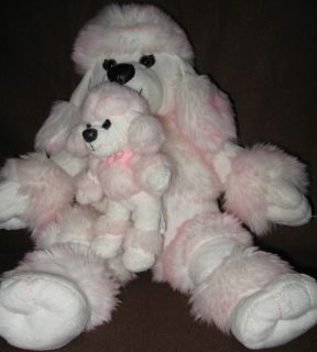 Build A Bear Poodle Dog Mini Baby Puppy Whie and Pink