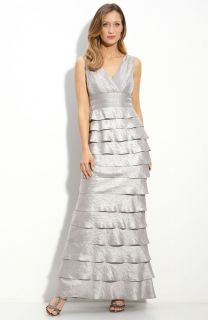 Adrianna Papell Tiered Gown Evening Dress in Steel 12