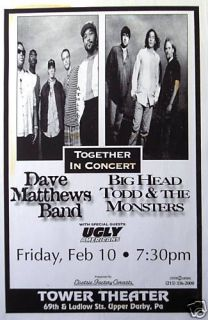 Dave Matthews Band Big Head Todd 95 Philly Tour Poster