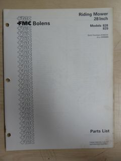 FMC Bolens Lawn Garden Equipment Tractor Riding Mower s 828 829 Parts