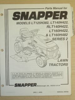 Snapper Riding Lawn Mower Parts Manual Manual No 06432