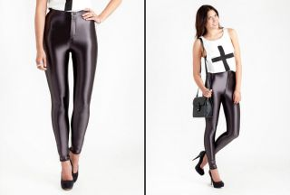 Brand New Womens High Shine Disco Pants in Charcoal Black by Glamorous