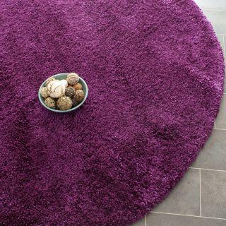 Hand Woven Cozy Shag Purple Carpet Area Rug 7 Round