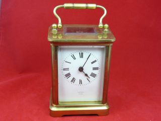 Antique Le Roy Paris Carriage clock Beveled Glass Brass MADE IN FRANCE