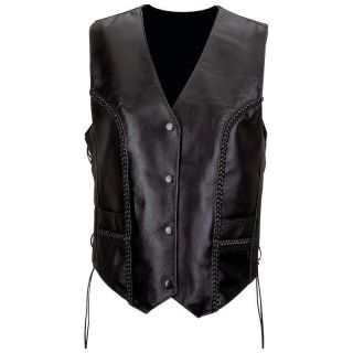 Womens Ladies Solid Black Leather Motorcycle Vest M L XL 2X