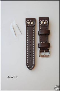 20mm Brown Genuine Leather Watch Band Strap Pilot Style