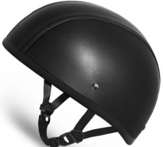 Black Leather Daytona Dot Motorcycle Half Helmet Low Profile D3ANS All