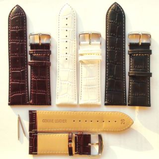27mm 1 Watch Band Strap Genuine Calf Leather Brown Black New
