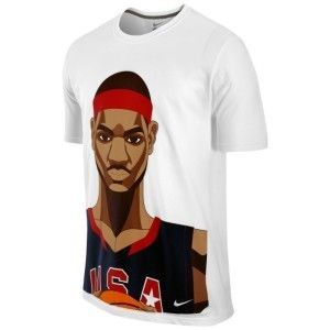 Nike Lebron James World Basketball USA T Shirt Face T