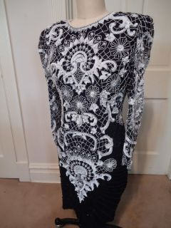 White/BLACK Beaded **BROCADE** Dress by Lawrence Kazar   Size (M) NWT