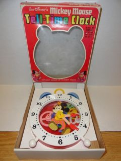Vtg~Walt Disney~MICKEY MOUSE~TELL TIME CLOCK~w/ Box & Instructions**VG