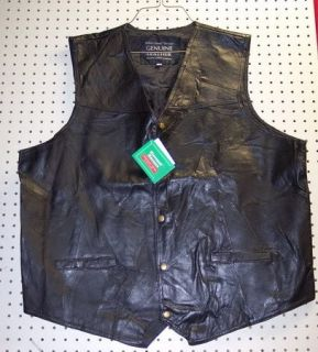 Mens Womens Leather Motorcycle Vest x Large