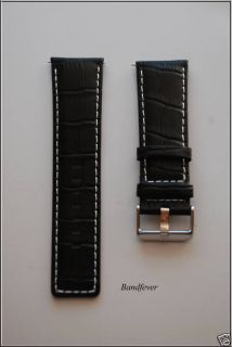 26mm Black Genuine Leather Watch Band Strap White Stich