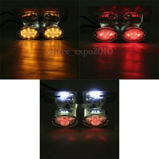 LED Motorcycle Quad ATV Turn Signal Brake License Plate Integrated