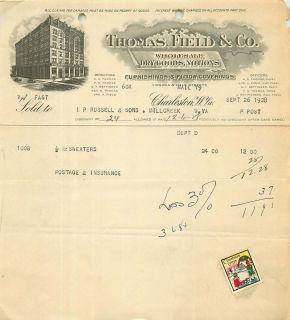 1928 Billhead Thomas Field Co Wholesale Dry Goods Notions Charleston