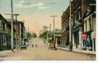Leetonia Ohio Downtown Street Scene Vintage Postcard
