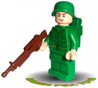 Lego Minifigure Army Man Soldier with Helmet Gun Backpack Cool