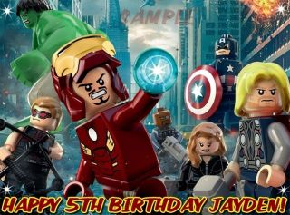 Lego Avengers 2 Edible Cake Topper Decorations Frosting Sheet