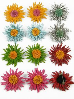 12 Pcs Lot Genuine Leather Corn Flower Brooch Pin DHA4 A