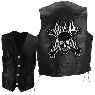 2XL Scull Bones Black Leather Motorcycle Biker Vest