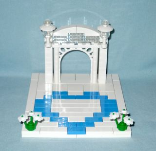 Lego Wedding Medium Blue Heart Cake Topper with Arch for Bride Groom