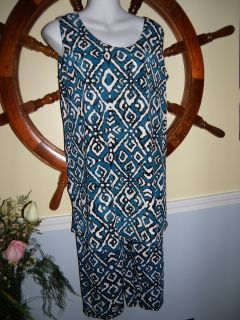 Jostar Slinky Capri Blue Diamonds Sleeveless Large New Travel Knit