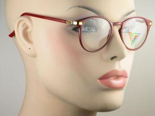 New Vintage Womens Clear Lens Eyeglasses Red Frame Gold Color Hinges
