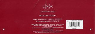 50 New Lenox Christmas Holiday Winter Song Full Bib Cotton Apron