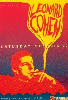 Leonard Cohen Original 1988 Concert Poster Bill Graham Presents F057