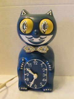 vintage kit kat cat clocks royal blue jeweled rare cat / box tested no
