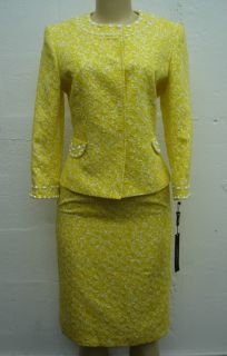 Tahari Women Suit Set Leticia Skirt Jacket Set Yellow White Size 4