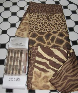 Animal Print Zuma Zebra Leopard Fabric Shower Curtain Safari Brown Tan