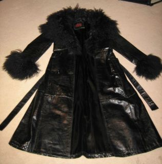 Oscar Leopold Leather w/ Baby Lambs Wool Full Length Coat Glam Rock