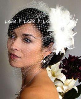 IVORY Large Birdcage Bridal Veil & CRYSTAL BROOCH Fascinator Hair Clip