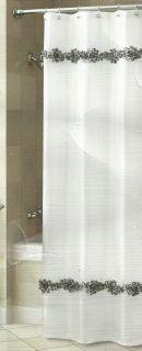 LEOPARD ROSIE CROSCILL BLACK WHITE CRINKLE SATIN SHEER ROSETTE SHOWER
