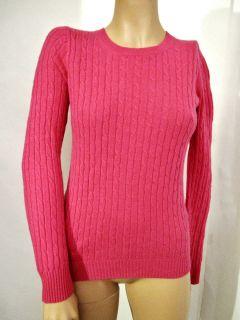 Crew Cable Knit Sweater Wool Cashmere Nylon Sz XS 2 4 Light Fuchsia