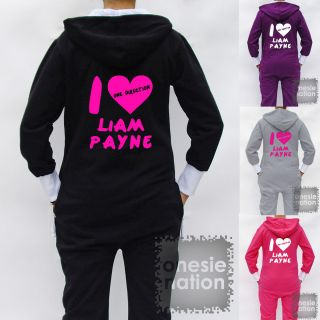 Hooded Hoodie Onesie I Love Heart Liam Payne One Direction 1D