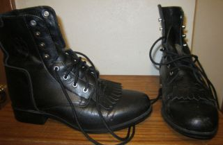 Ladies Adiat Black Leather Ankle Boots Size 5 5