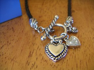 Lia Sophia Kiss Tell Silver Necklace with Hearts on Black Cord