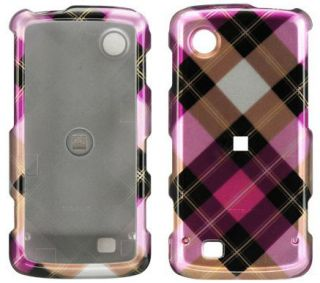 New Pink Plaid Hard Case Cover for Verizon LG Chocolate Touch VX8575