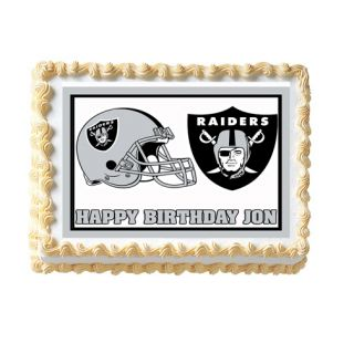 Oakland Raiders Birthday Party Cake Image Decoration