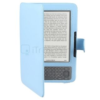 Light Blue Leather Pouch Skin Case Cover Wallet For  Kindle 3 3G