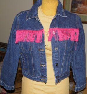 Libby Lu Blue Denim Jean Jacket Fuchsia Pink Fringe MD