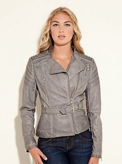 Guess Jeans $138 Letha Faux Leather Quilted Jacket Grey w Belt s 4 5
