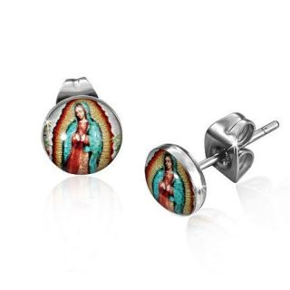 Stainless Steel Lady Of Guadalupe Virgin Mary Logo Stud Earrings LEV