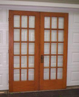 Antique Oak 15 Light French Doors c1918 60 x 79