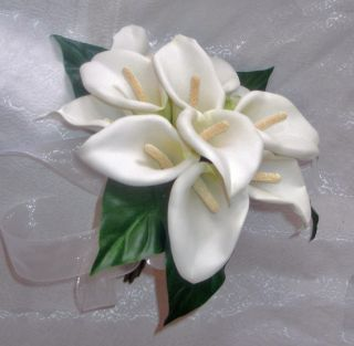 White Calla Lily Bouquet Silk Wedding Flowers Handtied Bridal