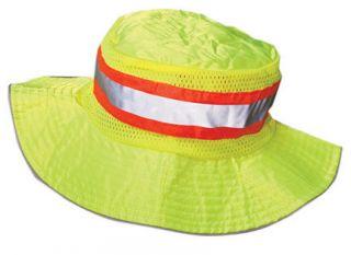 Lime Ranger Boonie Hat w/orange&silver reflective stripes, adjustable