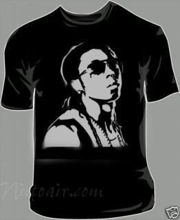 Lil Wayne Airbrushed Stencil T Shirt Airbrush